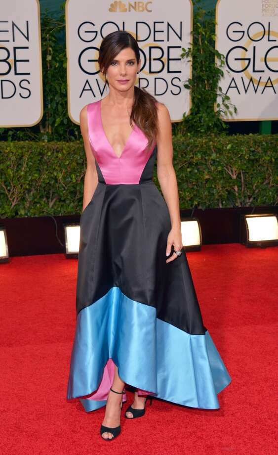 Color blocking (and other creative coloring). Sandra Bullock (nominated for her role in Gravity) in a color-blocked Prabal Gurung. Photo: John Shearer, Associated Press
