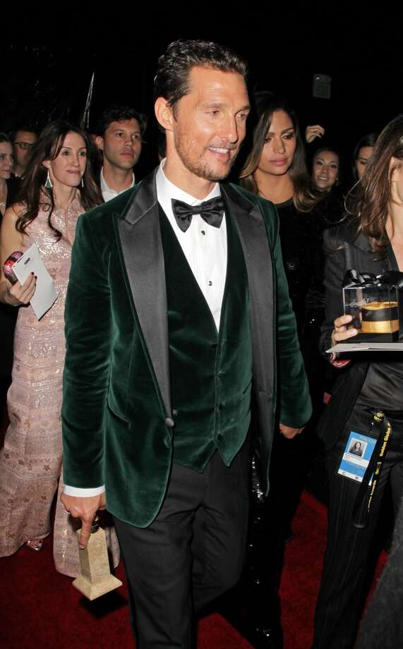 Tanner. Matthew McConaughey (who won for his role in Dallas Buyers Club) in a green velvet Giorgio Armani. Photo: David Buchan, Getty Images