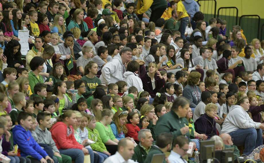 Approximately 1,500 grade school students enjoyed a special Kids Day event where the Siena women's basketball team took on Monmouth  Monday afternoon, Jan. 13, 2014, at Siena Collge in Loudonville, N.Y.  (Skip Dickstein / Times Union) Photo: Skip Dickstein / 00025345A