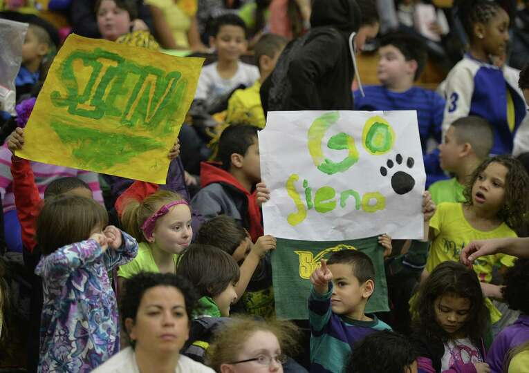 Approximately 1,500 area grade school students enjoyed a special Kids Day event where the Siena wome