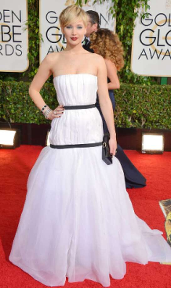 Jennifer Lawrence in a simple white strapless with black accents.