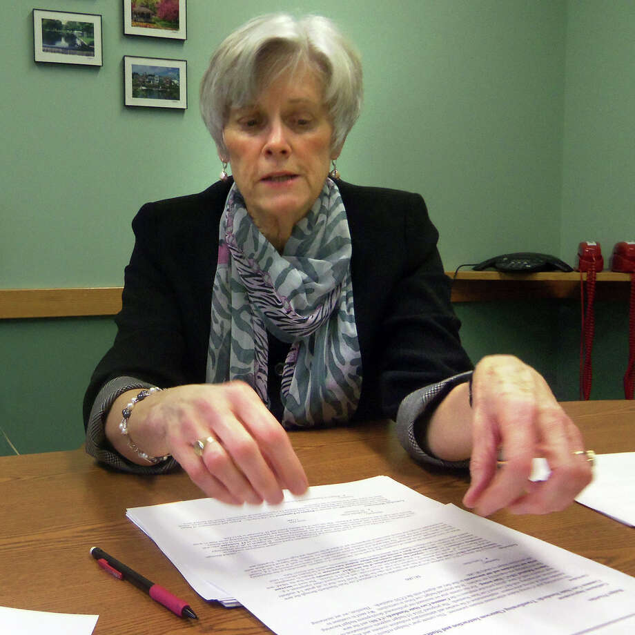 Milford Supt. of Schools Elizabeth E. Feser reviews her proposed budget with the press prior to the Board of Education meeting on Monday, Jan. 13, 2014. Her $90 million budget is 1.3 percent more than the current budget, one of the smallest increases in recent years, she said. Photo: John Burgeson / Connecticut Post