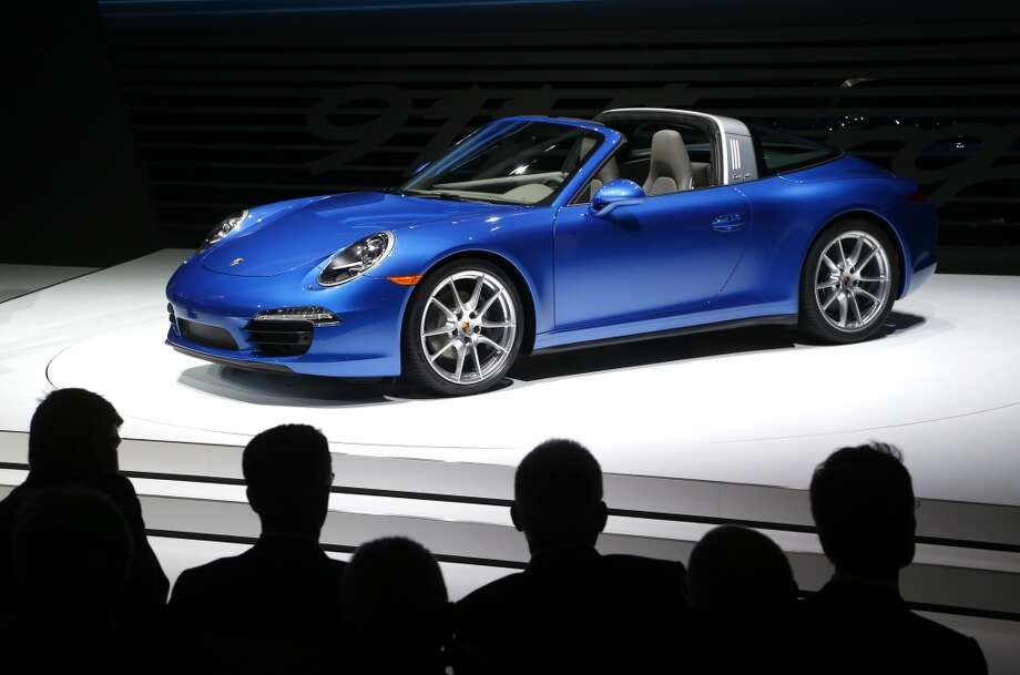 The Porsche 911 Targa debuts during media previews during the North American International Auto Show in Detroit — complete with the throwback hoop. Photo: Paul Sancya, Associated Press