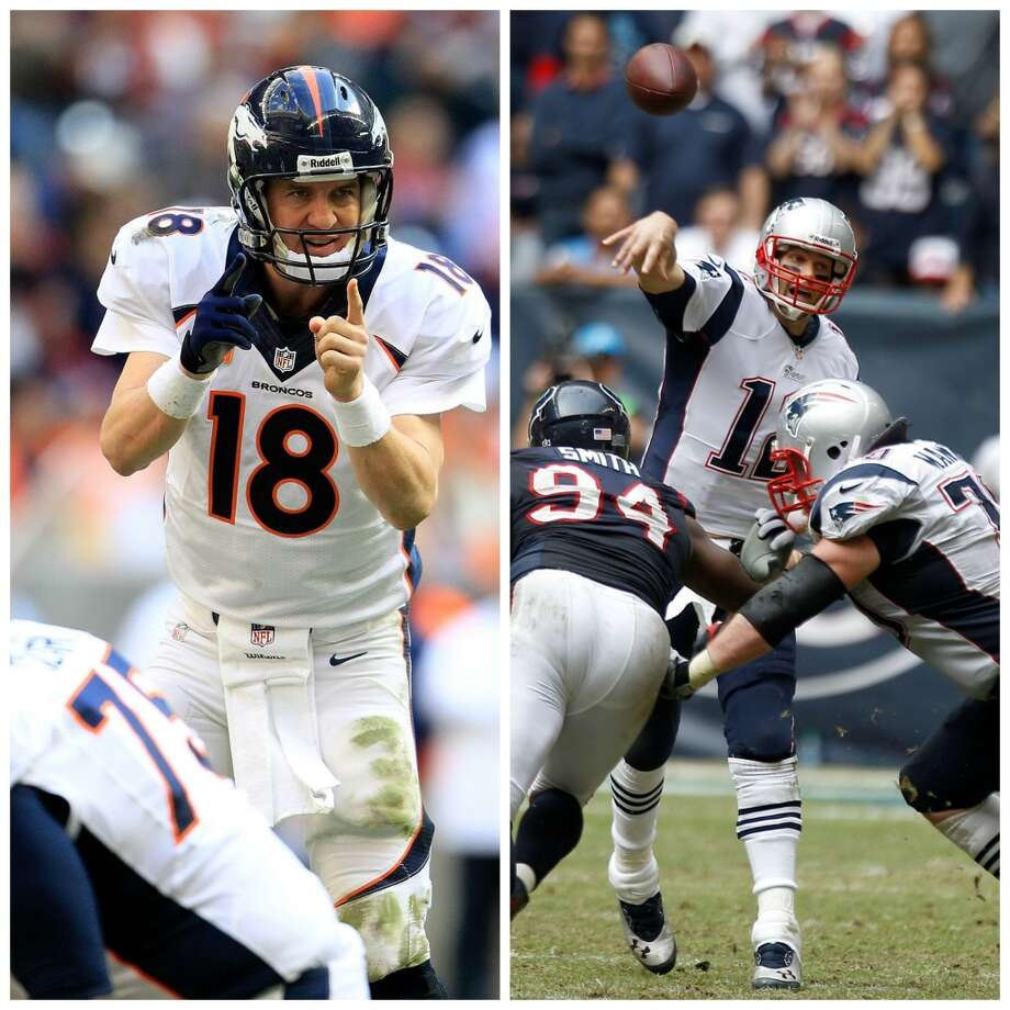 As Texans fans can attest, Peyton Manning and Tom Brady are still arguably the league's best two quarterbacks. Manning put on a show at Reliant Stadium as he passed for 400 yards and 4 TDs, breaking Brady's record for the most touchdown tosses in a season in a 37-13 win over the Texans on Dec. 22. Just a few weeks prior, Brady torched the Texans for 371 yards and 2 TDs in a 34-31 comeback win on Dec. 1. The QBs will renew their storied rivalry in Sunday's AFC Championship game with a spot in Super Bowl XLVIII on the line. Here's a look back at the previous meetings between the legendary signal-callers. Photo: Houston Chronicle Photos
