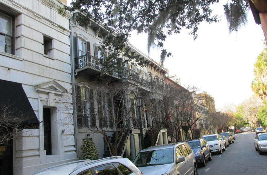Wrought-iron terraces and gates are a common site in Savannah. Photo: Sarah Diodato