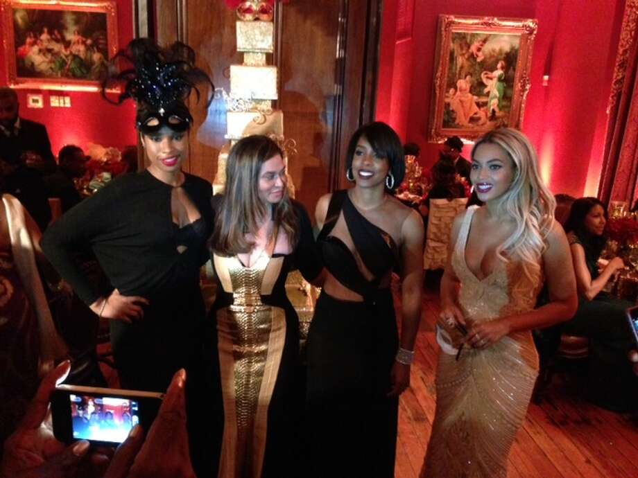 Attending Tina Knowles' birthday party were, from left, Jennifer Hudson, Knowles, Kelly Rowland and daughter Beyoncé. Photo: Joy Sewing / ONLINE_YES