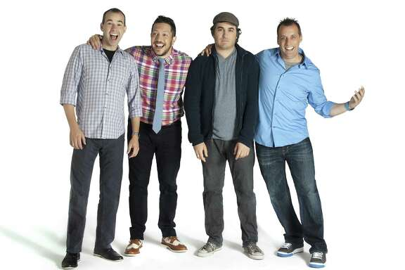 The  Impractical Jokers  stars are, from left, James  Murr  Murray, Sal Vulcano,   Brian  Q  Quinn and Joe Gatto.  The he guys have been performing as an improv comedy troupe called The Tenderloins since 1999 and will appear in Houston Friday.