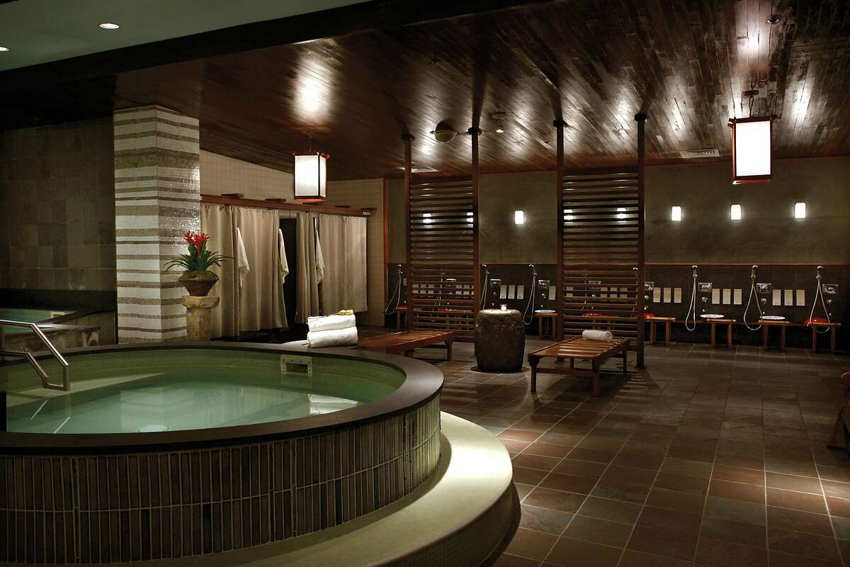 Kabuki Springs offers a different brand of rest and relaxation. Patrons of the tranquil spa take on serene Tai Chi-like movements as they move from the communal Japanese baths (pictured), which are open different days for women and men.