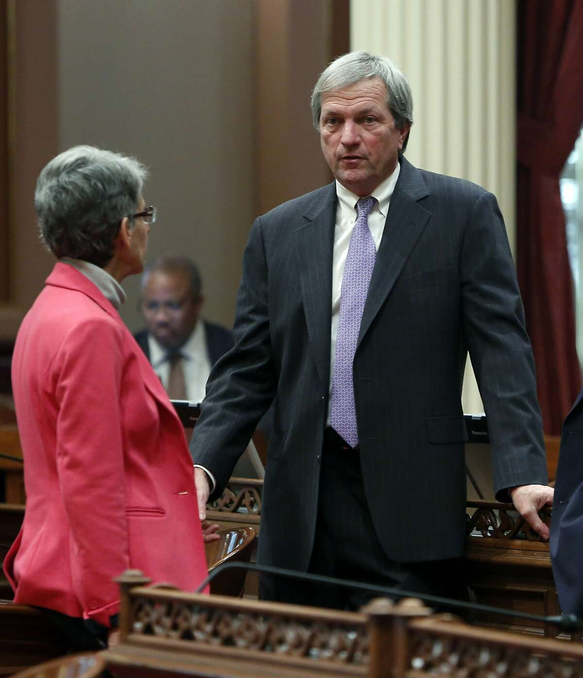 State Sen. Mark DeSaulnier, D-Concord, right, talks with Sen. Hannah-Beth Jackson, D-Santa Barbara, at the Capitol, Monday, Jan. 13, 2014, in Sacramento, Calif. DeSaulnier has announced that he will run for the Congressional seat of Rep. George Miller, D-Calif., who announced Monday that he would not seek re-election in 2014 after four decades in Congress. (AP Photo/Rich Pedroncelli)
