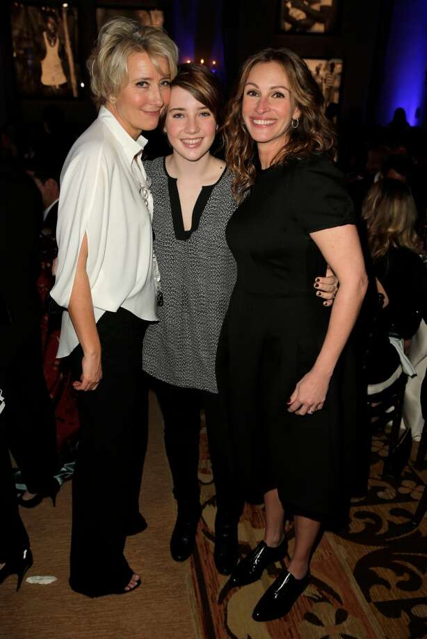 BEVERLY HILLS, CA - JANUARY 11:  (L-R) Emma Thompson, Gaia Wise and Julia Roberts attend the 3rd annual Sean Penn & Friends HELP HAITI HOME Gala benefiting J/P HRO presented by Giorgio Armani at Montage Beverly Hills on January 11, 2014 in Beverly Hills, California.  (Photo by Joe Scarnici/Getty Images for J/P Haitian Relief Organization) Photo: Joe Scarnici, Getty Images For J/P Haitian Relief Organization