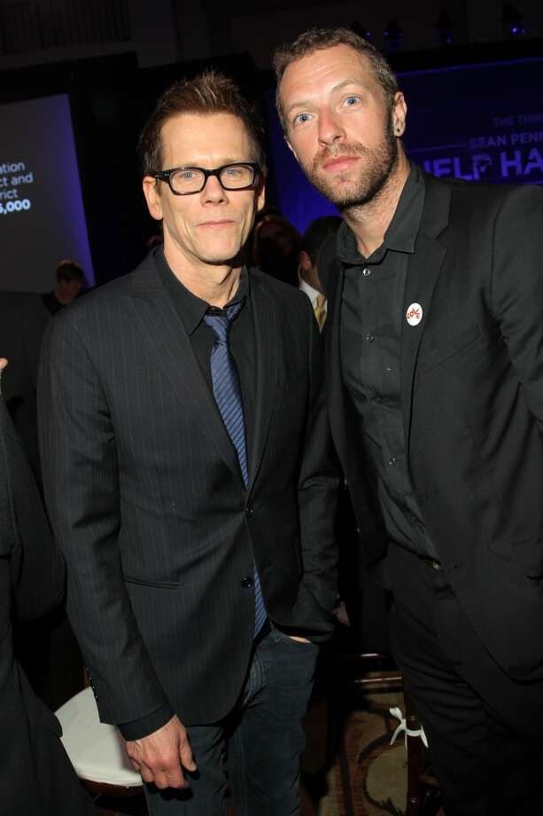 Kevin Bacon and Chris Martin attend the 3rd annual Sean Penn & Friends HELP HAITI HOME Gala benefiting J/P HRO presented by Giorgio Armani at Montage Beverly Hills on January 11, 2014 in Beverly Hills, California. Photo: Jonathan Leibson, Getty Images For J/P Haitian Relief Organization