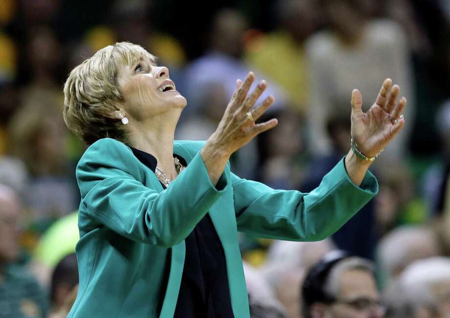 Baylor head coach Kim Mulkey throws her hands up after her team was charged with a foul in the first  half of an NCAA college basketball game against Connecticut, Monday, Jan. 13, 2014, in Waco, Texas. Photo: Tony Gutierrez, AP / Associated Press