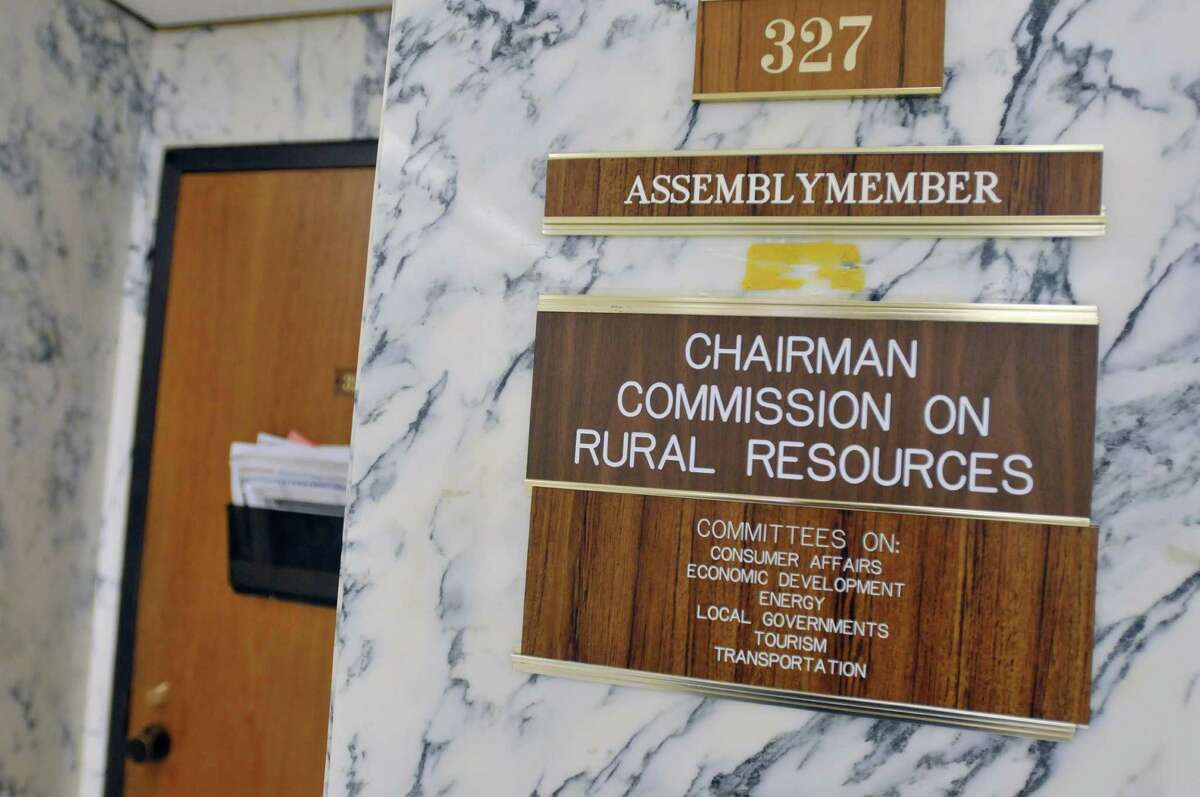 The name plate of Assemblyman Dennis Gabryszak has been taken off the wall outside his office at the Legislative Office Building seen here on Monday, Jan. 13, 2014, in Albany, N.Y. Gabryszak resigned his seat on Sunday. (Paul Buckowski / Times Union archive)