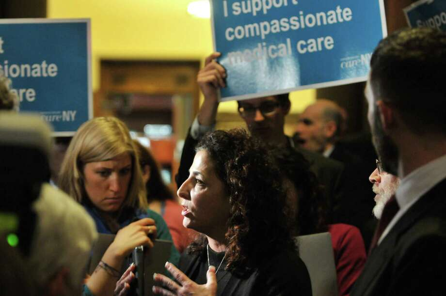 Senator Diane Savino talks to members of the media during a rally held Monday, Jan. 13, 2014, by members of New Yorkers for Compassionate Care who were calling for a medical marijuana bill to be passed this session.  The group held their rally just outside the Senate lobby inside the Capitol in Albany, NY.   (Paul Buckowski / Times Union) Photo: Paul Buckowski / 00025343A