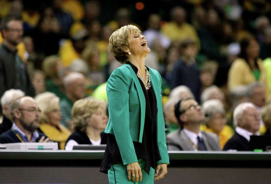 Baylor head coach Kim Mulkey looks upward in frustration after her team was charged with a foul in the first  half of an NCAA college basketball game against Connecticut, Monday, Jan. 13, 2014, in Waco, Texas. Connecticut won 66-55. Photo: Tony Gutierrez, AP / Associated Press