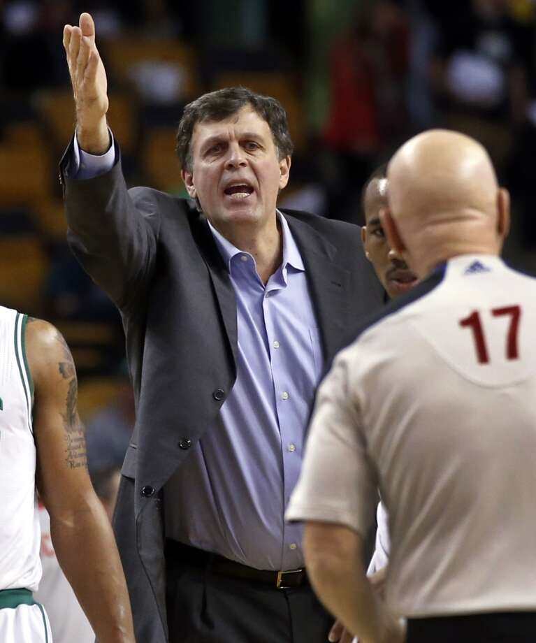 Rockets coach Kevin McHale argues an official. Photo: Elise Amendola, Associated Press
