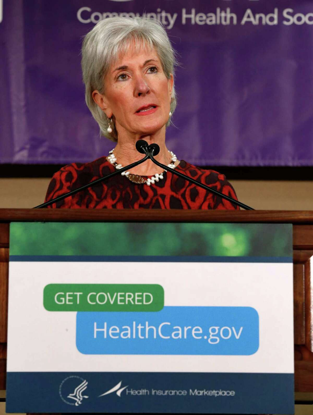 Health and Human Services Secretary Kathleen Sebelius speaks about the Health Insurance Marketplace at the Community Health and Social Services Center in Detroit Friday, Nov. 15, 2013. Sebelius says she's confident a troubled federal website will work much better by month's end so people can sign up for health insurance under the Affordable Care Act. (AP Photo/Paul Sancya)