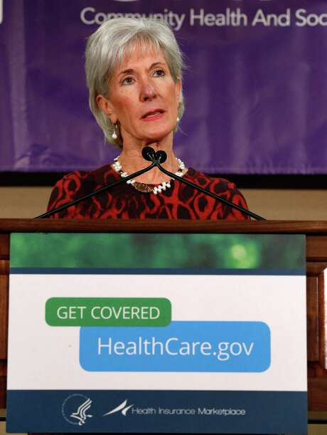 Health and Human Services Secretary Kathleen Sebelius speaks about the Health Insurance Marketplace at the Community Health and Social Services Center in Detroit Friday, Nov. 15, 2013. Sebelius says she's confident a troubled federal website will work much better by month's end so people can sign up for health insurance under the Affordable Care Act. (AP Photo/Paul Sancya) Photo: Paul Sancya, STF / AP