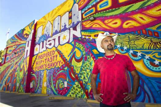Treebeards, 315 Travis. On behalf of the Greater Houston Convention and Visitors Bureau, Gonzo247 proclaims our city's virtues in electric colors and swirling psychedelia. Photo: Brett Coomer, Houston Chronicle