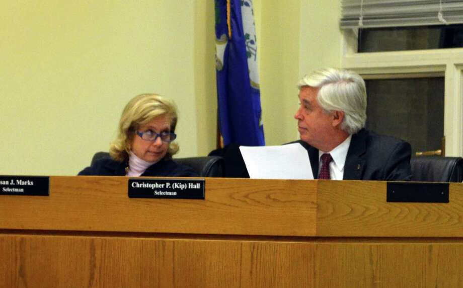 Selectman Susan Marks and Kip Hall during the discussion to approve the purchase of the property at 4 Short Lane on Monday, Jan. 14. Photo: Megan Spicer / Darien News
