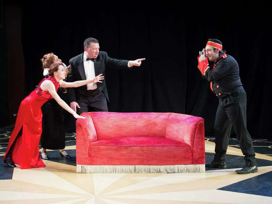 "Maggie (Lilly Wilton), Julia (Donna Schilke) and Saunders (Mike Boland) - left to right - tell off a paparazzi bellhop (Corrado Alicata) in ""Lend Me a Tenor"" at Playhouse on Park in West Hartford, starting Jan. 22. Photo: Contributed Photo / Connecticut Post Contributed"