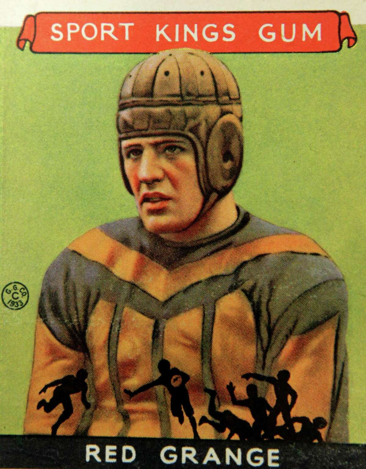 A Red Grange football trading card, shown Wednesday, Jan. 8, 2014, is part of an exhibit of vintage football cards to be shown at the Metropolitan Museum of Art in New York. The pop-up exhibition of 150 cards, including a series from 1894, are part of approximately 600 from the museum's vast collection of sport trade cards donated to the Met by the late hobby pioneer Jefferson Burdick. Sunday, Jan. 12, 2014, in New York. The exhibit opens Jan. 24 and runs through Feb. 10. (AP Photo/Kathy Willens) ORG XMIT: NYKW103
