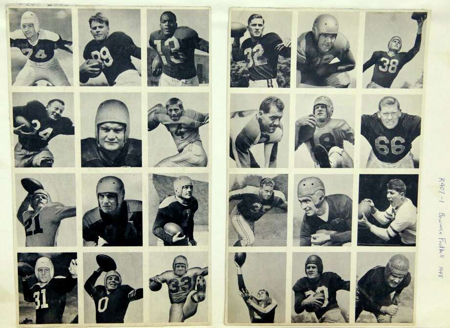 This 1948 rare uncut set of Bowman football trading cards shown Wednesday, Jan. 8, 2014, at the Metropolitan Museum of Art in New York, ushered in the modern era of football cards. The set is part of a pop-up exhibition celebrating football's history through the ages with vintage trading cards. The 150 cards, including a series from 1894, are among approximately 600 from the museum's vast collection of sport trade cards donated to the Met by the late hobby pioneer Jefferson Burdick. Sunday, Jan. 12, 2014, in New York. The exhibit  runs Jan. 24 through Feb. 10. (AP Photo/Kathy Willens) ORG XMIT: NYKW106 Photo: Kathy Willens, AP / AP