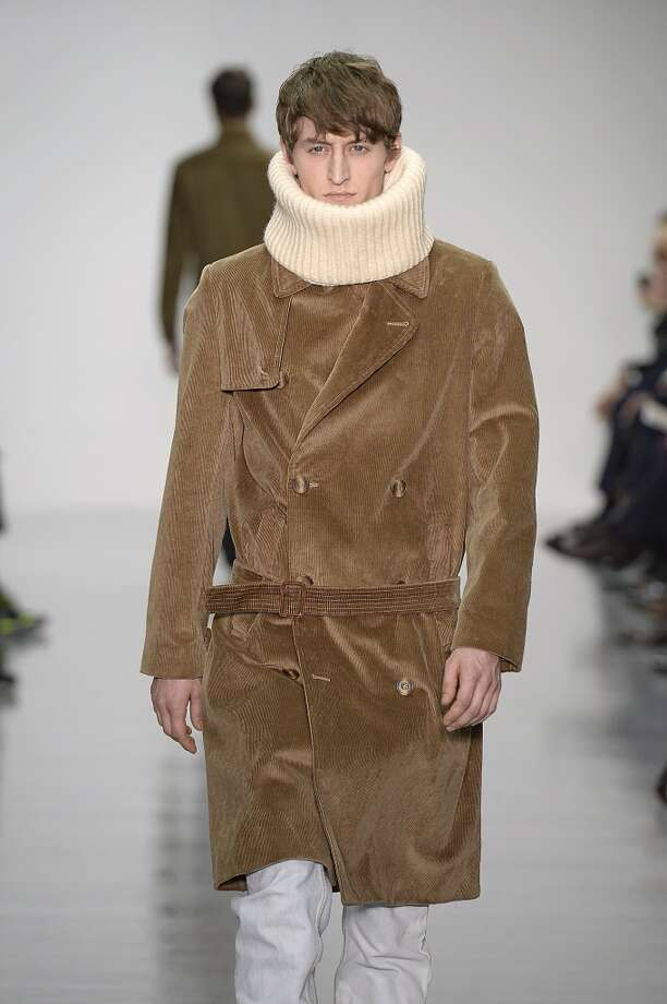 TREND: NEUTRAL OUTERWEAR. Lou Dalton Autumn Winter 2014 fashion show during London Menswear Fashion Week. Photo: Catwalking, Getty Images