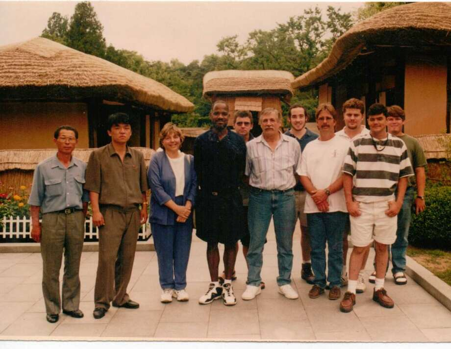 Crew in front of Kim Jung Il's birthplace.