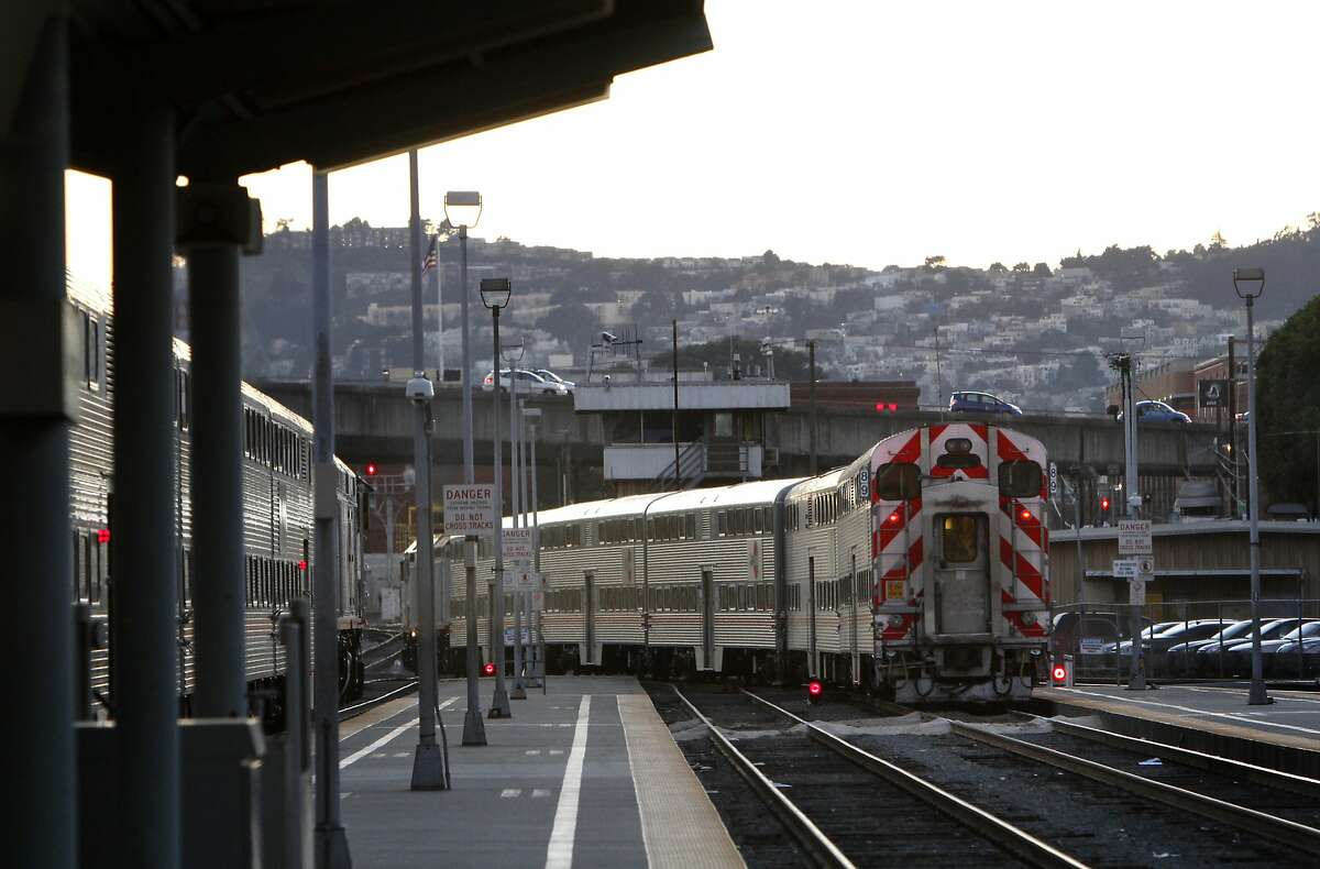 A train leaves the Caltrain station in San Francisco, Calif., on Monday, January 13, 2014.