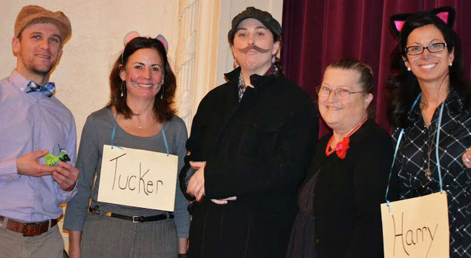 "Kings Highway School staff costumed for a skit based on ""The Cricket in Times Square,"" are from left, Michael Quiricone (Mario), Linda Johnson (Tucker), Shannon Bolcer( Papa), Sara Guterman (Mama) and Susie Da Silva (Harry). Photo: Contributed Photo / Westport News contributed"