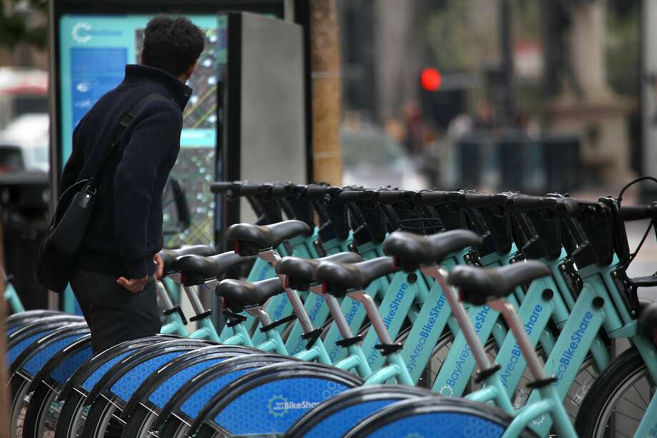 Bay Area Bike Share data show ridership is climbing since the service started in August, with most rides (73,002) taken in San Francisco. Photo: Liz Hafalia, The Chronicle