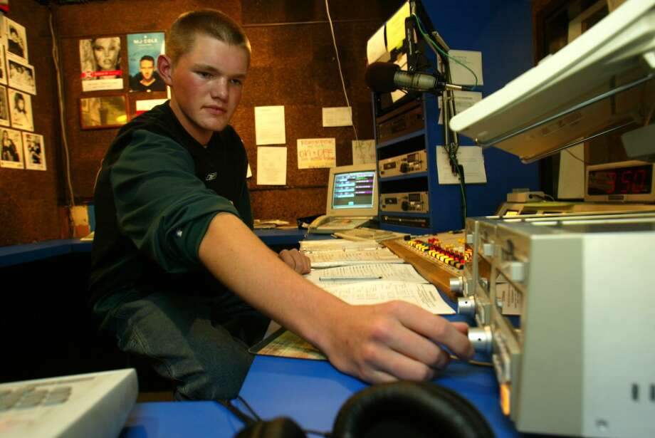 Andrew VonLossow, 15, works an afternoon shift at C89.5 FM on Nov. 12, 2003. The Village Voice called the station, heard worldwide, New York's top high school radio station that year.  Photo: GRANT M. HALLER, Copyright MOHAI