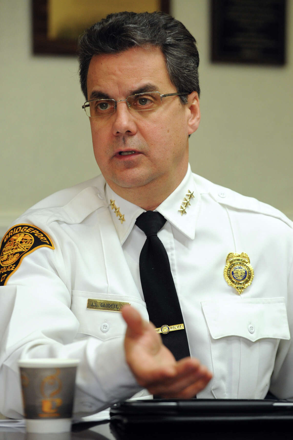 Bridgeport Police Chief Joseph Gaudett speaks during an interview in the Mayor's Office, in Bridgeport, Conn. Feb. 7th, 2013.