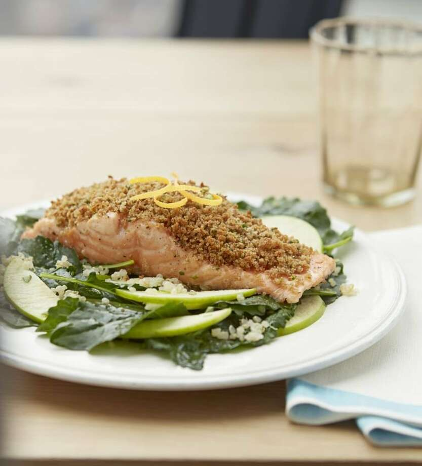 Crunchy Salmon with Apple and Baby Kale Salad From Good Housekeeping Photo: Mark Lund