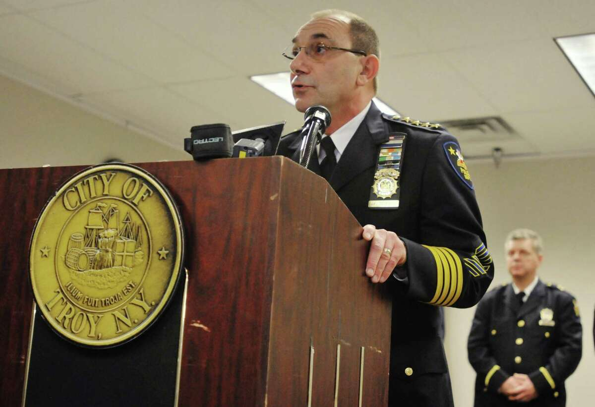 Troy Police Chief John Tedesco addresses those gathered for a swearing-in ceremony for three new Troy Police officers on Tuesday, Jan. 14, 2014 at Troy City Hall in Troy, NY. (Paul Buckowski / Times Union)