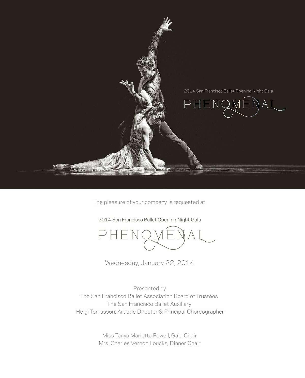 The San Francisco Ballet's Phenomenal season opening gala is Jan. 22.