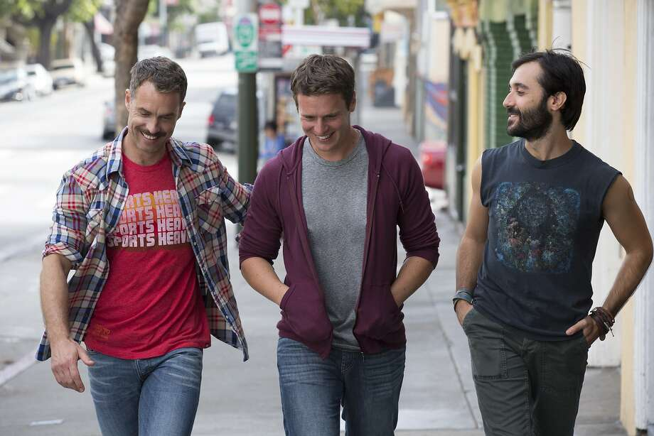 Murray Bartlett (left), Jonathan Groff and Frankie J. Alvarez play gay men navigating relationships in San Francisco. Photo: HBO