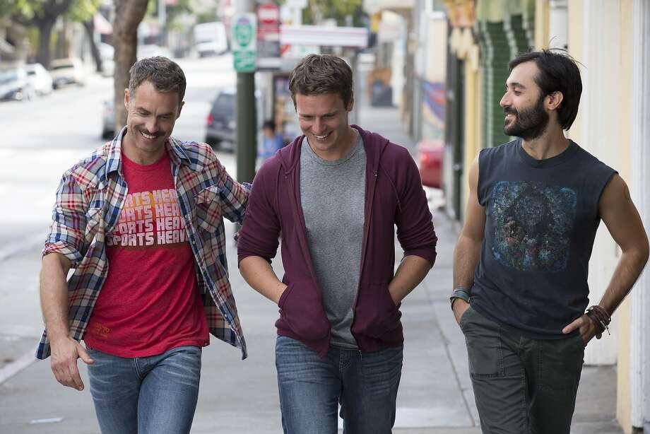Murray Bartlett (left), Jonathan Groff and Frankie J. Alvarez play gay men navigating relationships in San Francisco. Photo: HBO