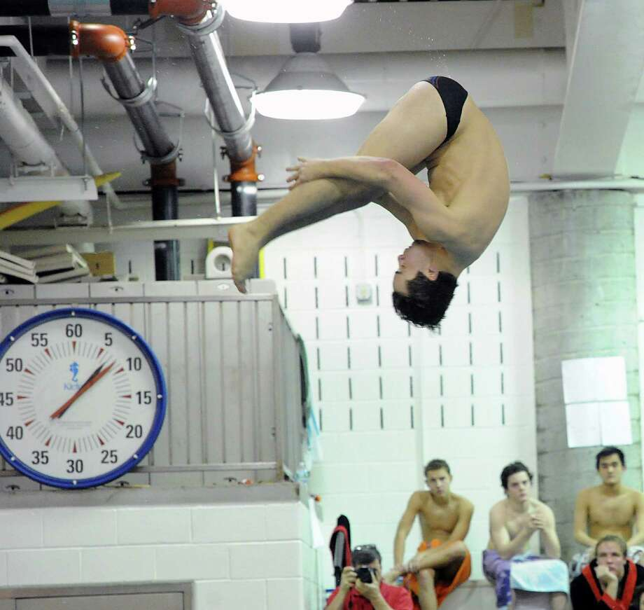 Greenwich High School diver Andrew Bologna in action during the boys high school swim meet between Greenwich High School and Fairfield Prep at Greenwich, Saturday, Jan. 11, 2014. Photo: Bob Luckey / Greenwich Time