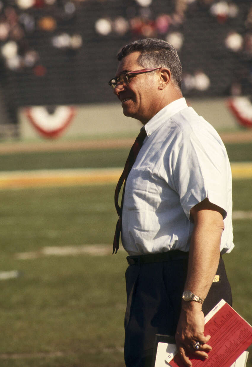 Green Bay Packers head coach Vince Lombardi watches his team in admiration during Super Bowl I, a 35-10 victory over the Kansas City Chiefs on Jan. 15, 1967, at the Los Angeles Memorial Coliseum in Los Angeles.