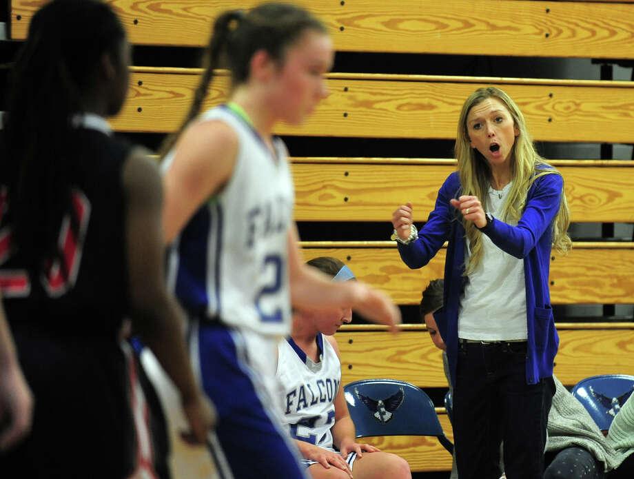 Fairfield Ludlowe Head Coach Sarah Huntington, during girls basketball action against Central in Fairfield, Conn. on Tuesday January 14, 2014. Photo: Christian Abraham / Connecticut Post