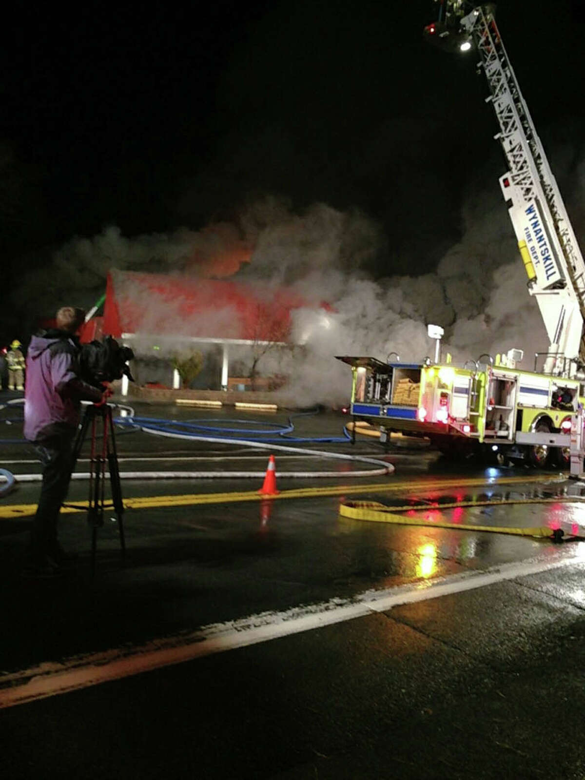 Villa Valenti Restaurant in Wynantskill is consumed by flames on Tuesday night. Charlie Hug / Times Union
