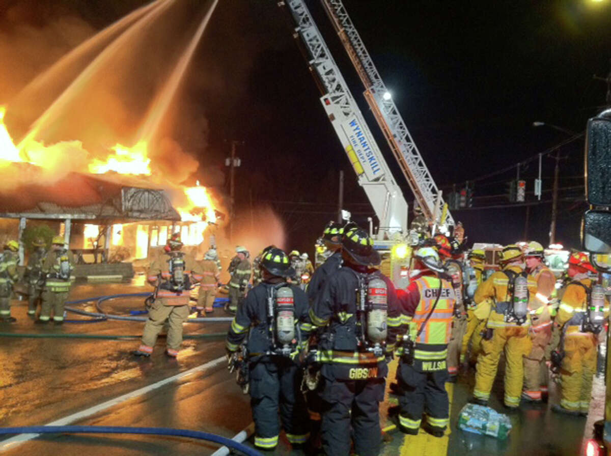 Eight fire departments responed to a fire Tuesday night, Jan. 14, 2014, that heavily damaged the Villa Valenti Restaurant in Wynantskill, according to the Rensselaer County Sheriff?s Office. (Marty Miller / Special to the Times Union)