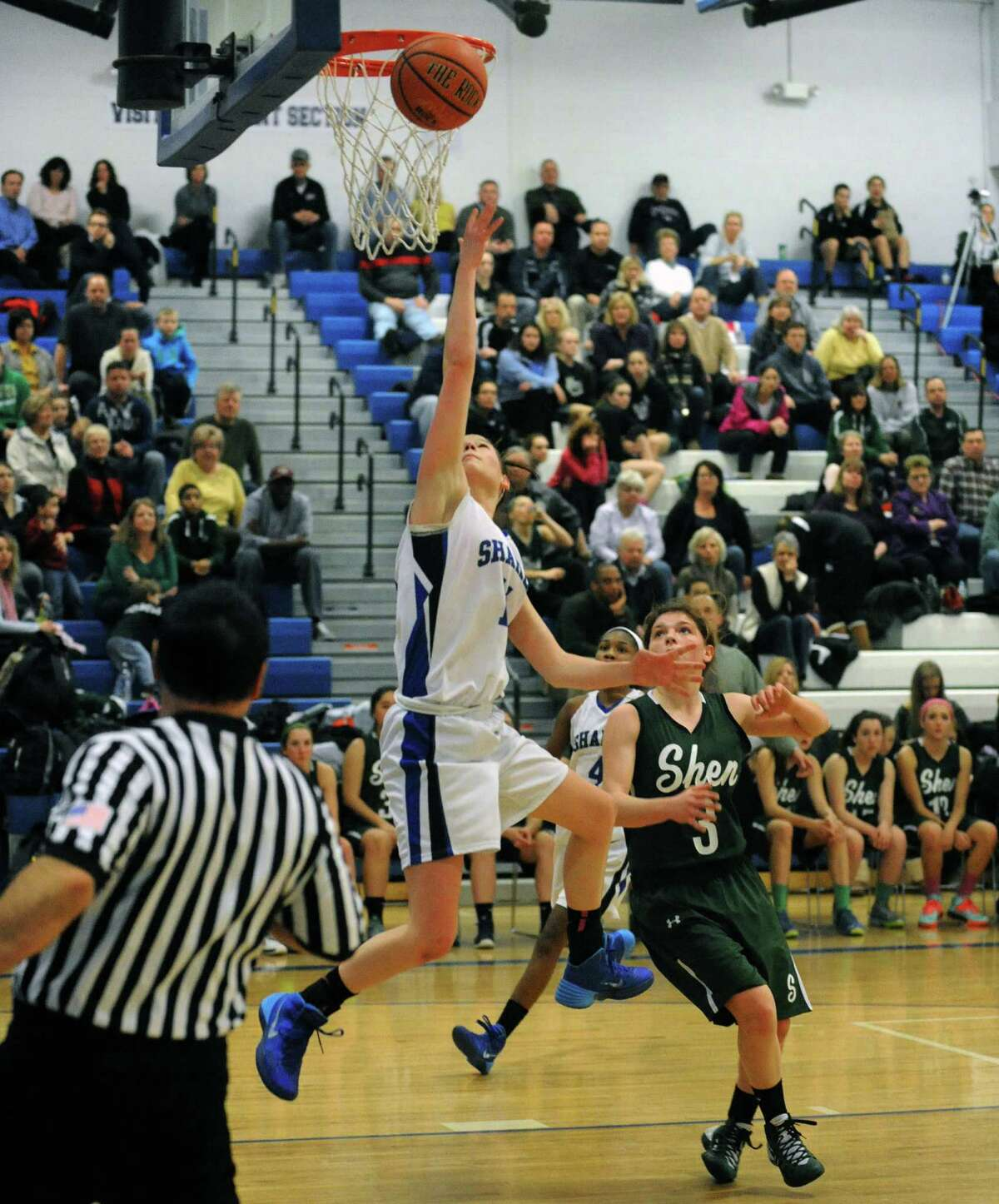 Shaker's Jenni Barra goes in for a basket during their girl's high school basketball game against Shen on Tuesday Jan. 14, 2014 in Colonie, N.Y. (Michael P. Farrell/Times Union)