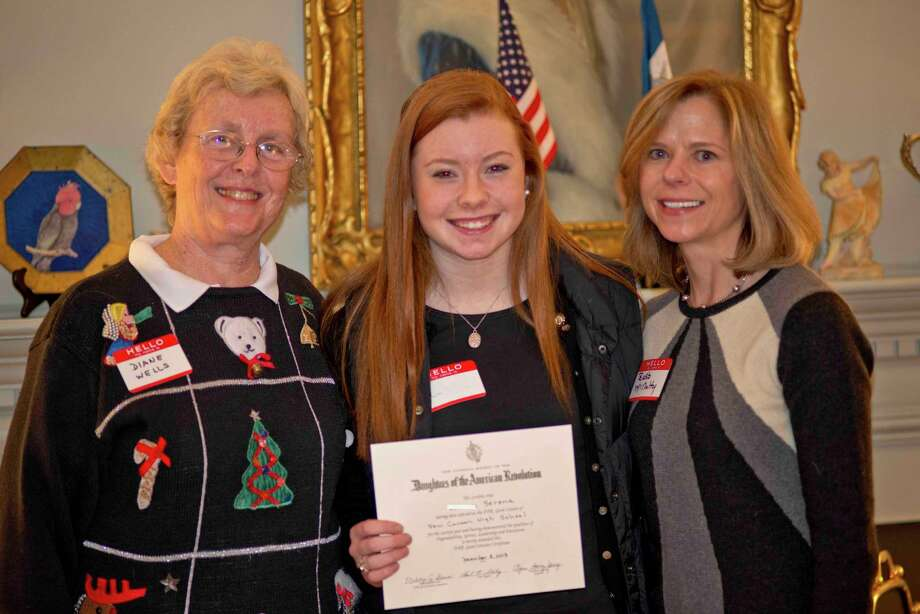 The Hannah Benedict Carter Chapter, NSDAR, presented the DAR Good Citizen award for New Canaan High School to Lauren Serena. Above,Regent Diane Wells, Serena and Committee Chairman Barbara McNulty. Photo: Contributed Photo, Contributed / New Canaan News Contributed
