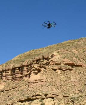 Scottish researchers have developed drones that analyze remote rock formations from the sky to better understand what's occurring in offshore oil and gas reserves in the North Sea. The effort is part of the school's SAFARI project, which began in the late 1980s and is supported by 24 oil companies. Photo: SAFARI Project