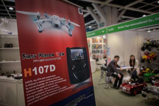 A billboard advertises a drone at the 40th Toys and Games Fair in Hong Kong. Photo: PHILIPPE LOPEZ, AFP/Getty Images