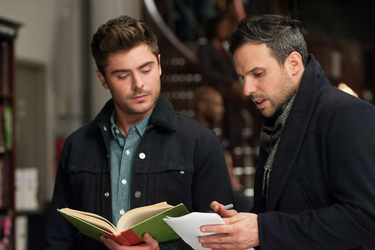 Zac Efron, left, and director Tom Gormican on the set of