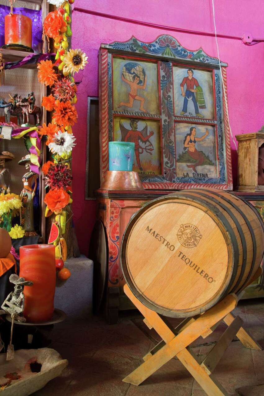 A wine barrel is seen in Mi Casa restaurant and craft store in Cabo San Lucas, Baja California Sur, Mexico.